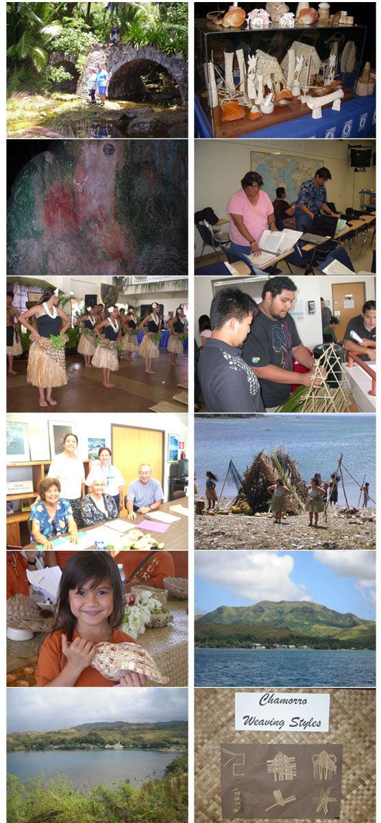Various images of Chamorro dance, weaving, and scenic shots of Guam